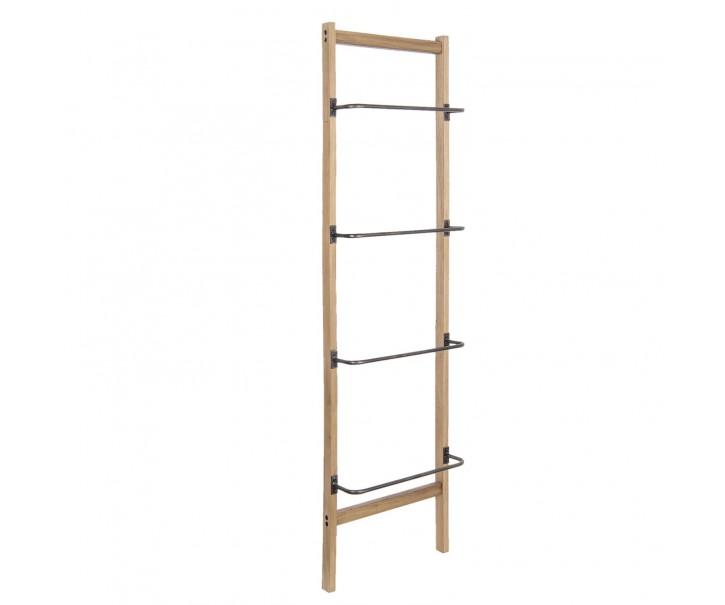 Dřevěný hnědý  věšák na ručníky žebřík - 50*14*180 cm