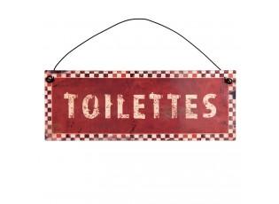 Kovová červená závěsná cedulka Toilettes - 20*7cm