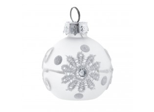 Bílá vánoční ozdoba koule - Ø 4 cm- sada 6ks