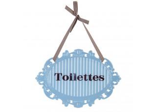 Kovová modrá závěsná cedulka Toilettes - 20*14 cm