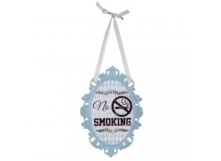 Kovová modrá závěsná cedulka No smoking - 14*20 cm