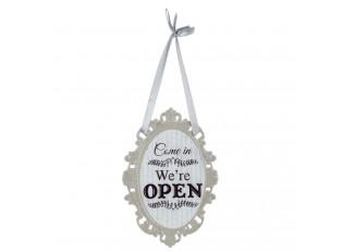 Kovová šedá závěsná cedulka Open - 14*20 cm