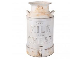 Bílá retro konev na mléko s kohoutem - 21*27*38 cm / 8L