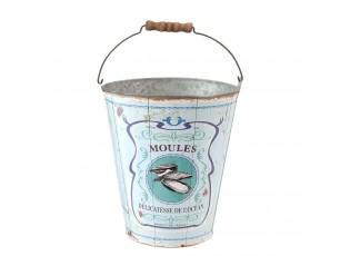 Modrý plechový kyblík Moules - Ø 18*20 cm