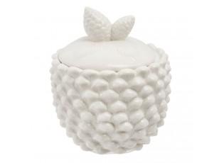 Bílá porcelánová dóza šiška se šiškama- Ø 10*13 cm / 0.3 L