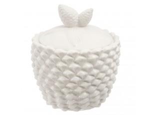 Bílá porcelánová dóza šiška se šiškama- Ø 14*16 cm / 0.85 L