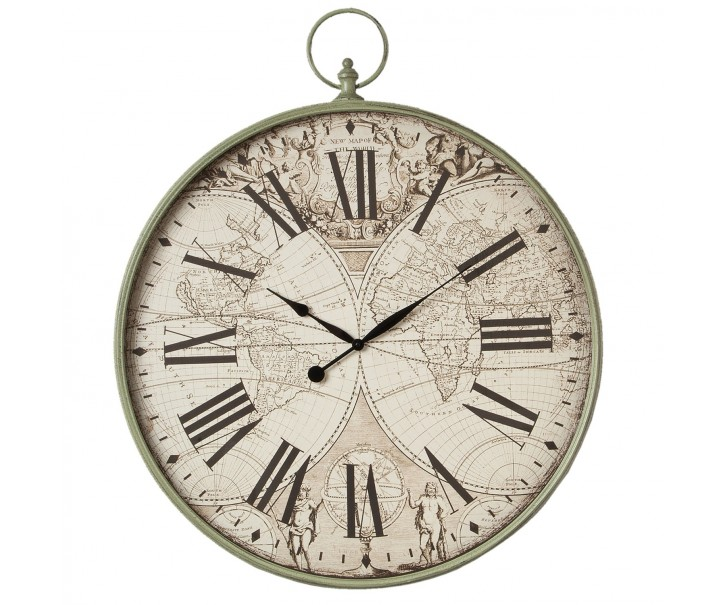 Kovové nástěnné hodiny Antique green Atlas  - 80*8*96 cm 1xAA