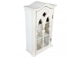 Bílá dřevěná nástěnná skříňka s prosklenými dvířky Marionetta - 49*22*79 cm