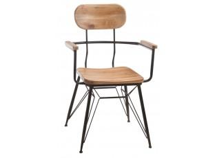 Kovová židle se dřevem BISTRO - 58* 58 * 90cm