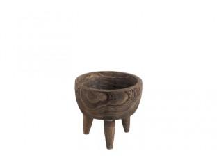 Dřevěná mistička na jídlo na nožičkách - Ø18,5*15 cm