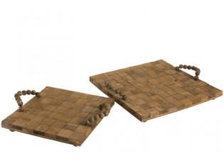 2 dřevěné podnosy - 40*40*4 cm
