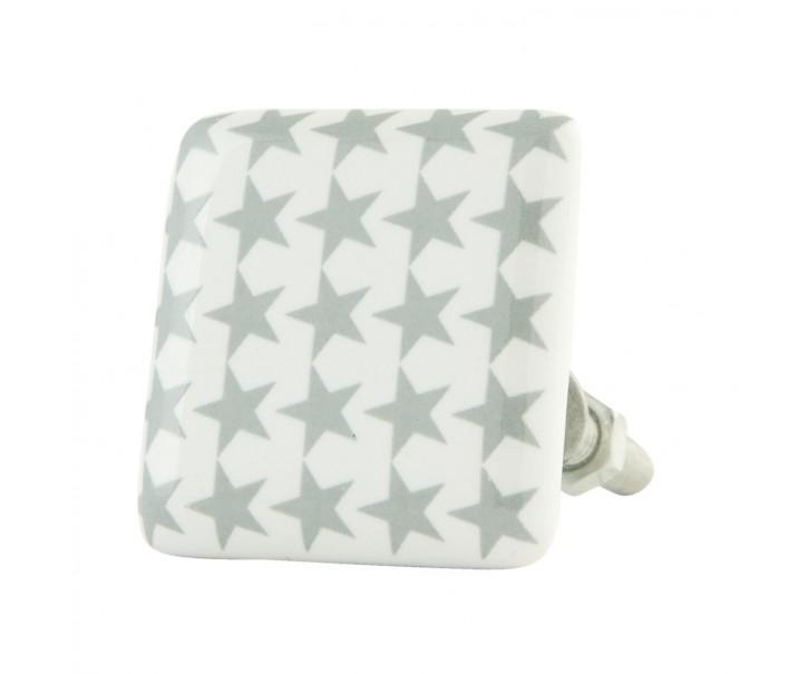 Čtvercová keramická úchytka s hvězdičkami - 3*3*5 cm