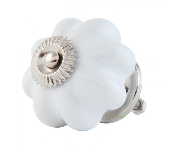 Keramická úchytka květina bílá - Ø 4 cm