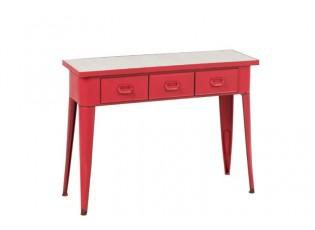 Červený kovový odkládací stolek - 110*37*84 cm