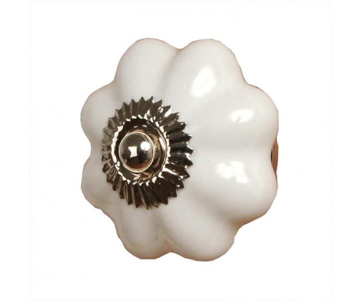Keramická úchytka bílá květina - Ø 3,5 cm