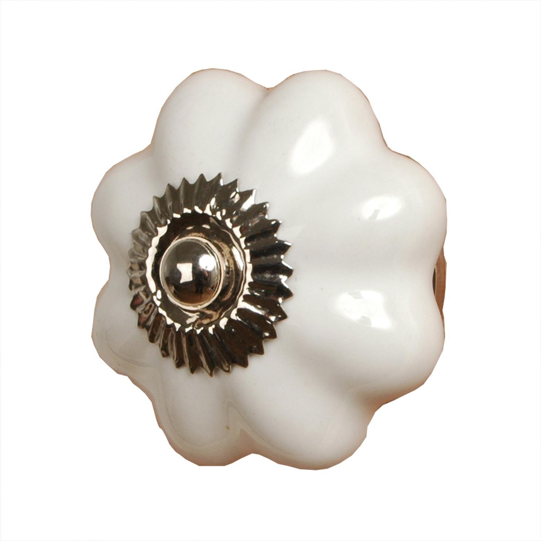 Levně Keramická úchytka bílá květina - Ø 3,5 cm