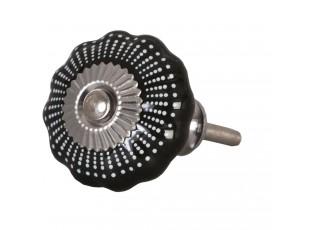 Černá keramicka úchytka -Ø 4 cm