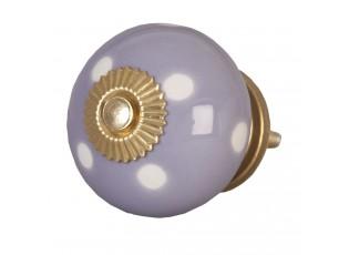 Lila keramicka úchytka s puntíky - Ø 4 cm