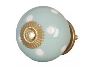 Šedá keramicka úchytka s puntíky - Ø 4 cm