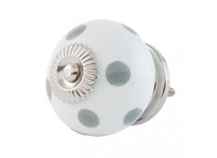 Bílá keramicka úchytka s puntíky - Ø 4 cm
