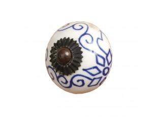 Keramická úchytka s modrým ornamentem - Ø 3.5 cm