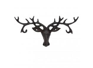 Nástěnný litinový věšák hlava jelena  -26*3*13 cm