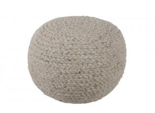 Pletený pouf  Wool Grey - Ø 50*30 cm