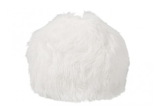 Bílý chlupatý pouf  Yetty - Ø 55*55 cm