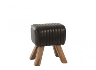 Kožená stolička / podnožka Dreamy - 41*32*46 cm