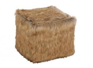 Hnědý chlupatý pouf  Faux - 50*50*50 cm