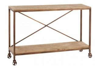 Kovový konzolový stolek na  kolečkách Copper - 130*35*85cm