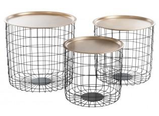 Tři odkládací stolky Basket Gold - Ø 45*45 cm