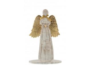 Dřevěný anděl  se zlatými křídly - 31*46*2cm