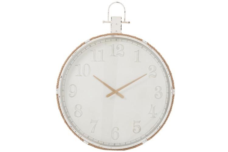 Nástěnné bílé kovové hodiny Marco - Ø 84*107 cm