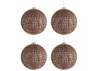 Vánoční ozdoba koule  Copper Glass - Ø 10cm - sada 4ks