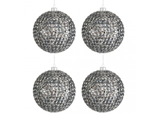 Vánoční ozdoba koule  Grey Glass - Ø 10cm - sada 4ks
