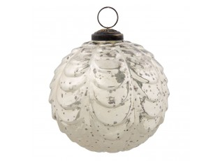 Vánoční ozdoba stříbrná antik - Ø 10 cm - sada 6ks