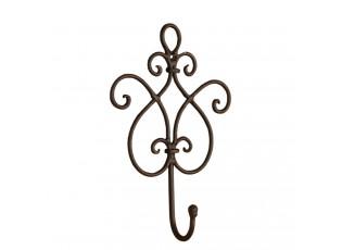 Věšák ornament hnědý - 15*5*22 cm