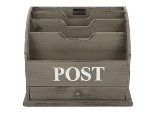 Šedý box na poštu s nápisem Post - 36*23*29 cm