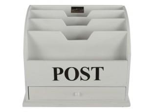 Bílý box na poštu s nápisem Post - 36*23*29 cm