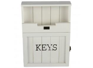 Bílá skříňka na klíče - 25*7*34 cm