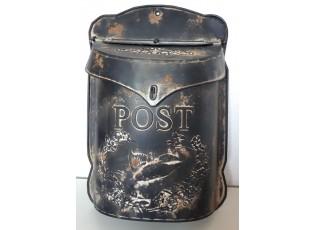 Černá poštovní retro schránka s ptáčkem - 26*8*39 cm