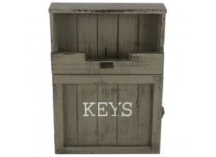 Tmavě šedá skříňka na klíče s patinou - 25*7*34 cm