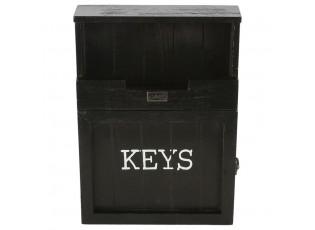 Černá skříňka na klíče s patinou - 25*7*34 cm