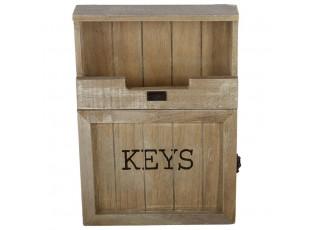 Přírodní skříňka na klíče s patinou - 25*7*34 cm