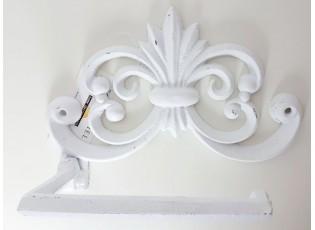 Bílý litinový držák toaletního papíru - 19*8*14 cm