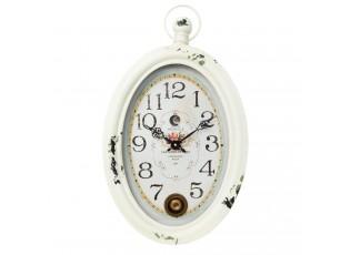 Bílé kovové nástěnné hodiny Marseille - 33*6*56 cm