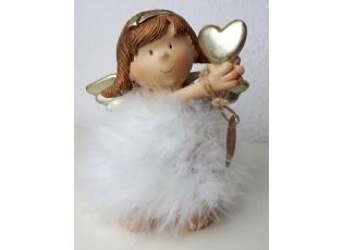 Anděl s peříčky a srdcem  - 13*8*15 cm