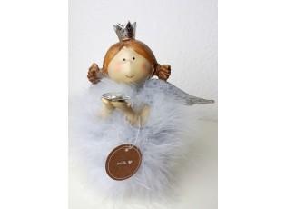 Anděl s peříčky a srdcem Carin  - 18*10*16 cm