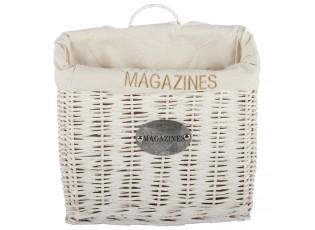 Bílý proutěný závěsný košík na noviny a časopisy